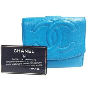 Chanel blue teal leather CC snap wallet